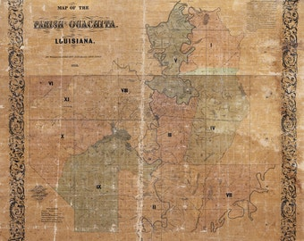1858 Map of Ouachita County (Parish) Louisiana Plantations Farms