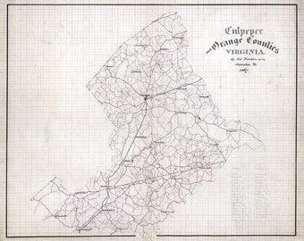 1867 Map of Culpeper and Orange County Virginia