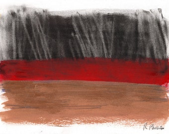 Abstract Art Print - 5x7 mixed media, black, red, brown