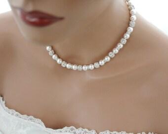 White Pearl Wedding Necklace, Swarovski Pearl Bridal Jewelry, Wedding Jewelry, Bridal Necklace, Bridal Pearl Jewelry, Pearl Necklace