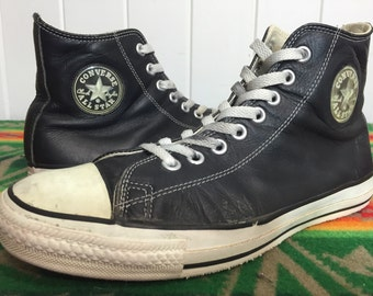90's made in usa converse leather black chuck taylor shoes