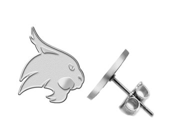 Texas State Bobcats Logo Earrings - Available in Three Styles - See Pictures and Choose Size
