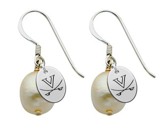 Virginia Cavaliers UVA Earrings with Sterling Silver and Freshwater Pearls - Available With Color