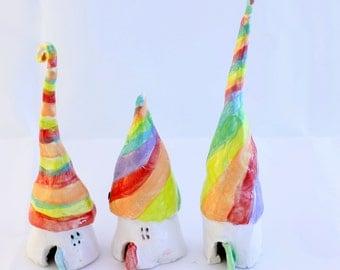 Rainbow fairy houses