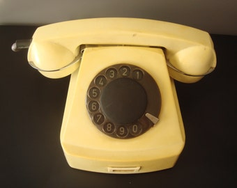 Soviet Vintage Rotary Phone,Antique Home Phone, Retro Telephone, Yellow Telephone, made in USSR