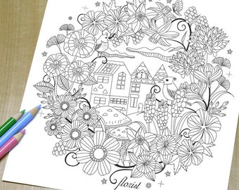 Floral Garden - Adult Coloring Page Print