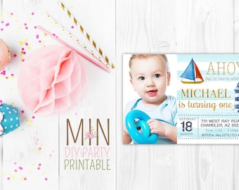 Nautical photo card,Nautical Anchor Baby Shower Invitation,Nautical Baby Shower Invitation,Ahoy Its A Boy,Anchors and Stripes