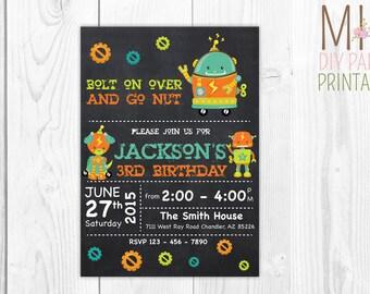 Robot Birthday Invite 2- Robot Invitation - Robot Birthday Invitation - Robot Party Invitation- Let's Go Nuts - Boy Robot Birthday Party