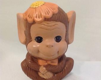 Vintage Monkey Ceramic Piggy Bank