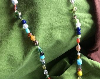 Crazy multicolored glass necklace