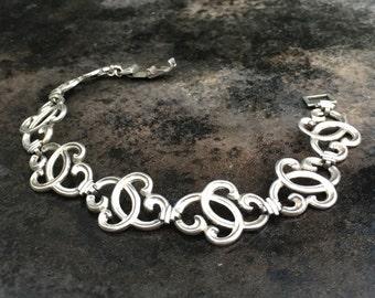 Vintage sterling silver Art Nouveau style linked bracelet, wRe