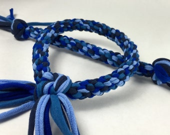 Blues Mix Rope Dog Toy Made From Upcycled T-shirts