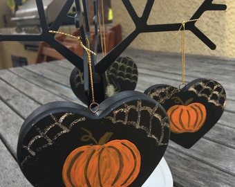 Halloween Pumpkin Spider Web Ornament
