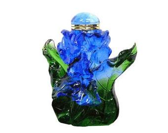 Blue Green Flower Design Crystal Glass Perfume Bottle fs150e