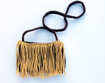 Mustard on brown toddler fringe purse