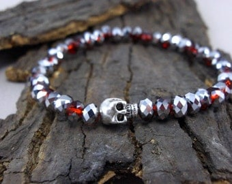 Bracelet skull with blood-red crystals