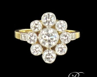 Marguerite revisited diamond 18K yellow gold ring Platinum modern