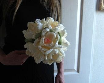 Magnolia Paper WEDDING BOUQUET, MAGNOLIAS flowers, buttonhole possible