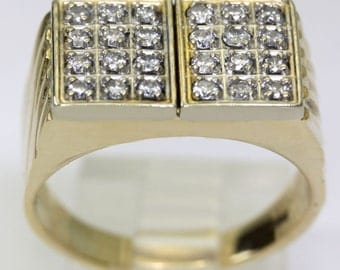 Mens diamond ring 18K yellow gold 24 round brilliants geometric .50CT size 8 3/4