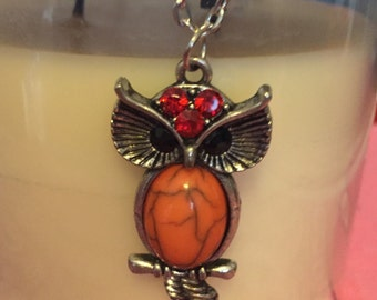 Orange Owl Necklace
