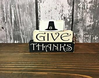 Thanksgiving Decor - Fall Decor - Thanksgiving Blocks - Thanksgiving Wooden Blocks - Wooden Blocks - Shelf Sitters -