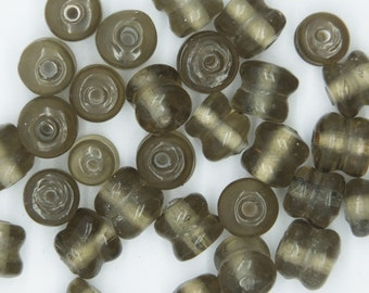 Glass Beads Gray Transparent Yoyo Tire 7mm. Pack of 30. Made in India.