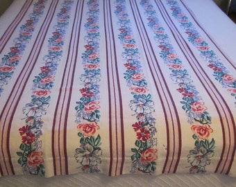 40s Fabric Barkcloth Vintage Retro Textiles 1950s Material Panel Curtain Roses Stripes