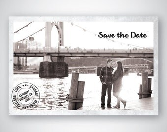 Save The Date - Vintage Postcard - Retro - Black and White - Photo - Custom - Printable
