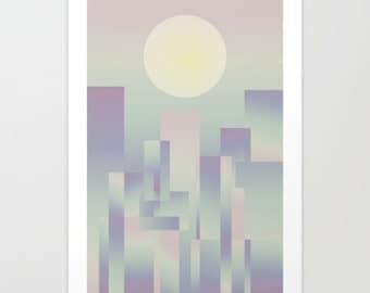 Dawning,Art print,abstract art print,geometric art print,art poster,wall art print,abstract poster,abstract wall print,pastel