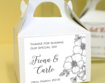 Personalised Wedding Favours / Cup Cake Boxes - Mono Flowers