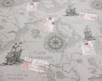 Grey Antique, Vintage Map & Nautical Boats 100% Cotton Poplin Printed Fabric.