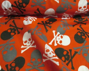 Red with White,Grey,Black Skull & Crossbones, Printed Polycotton craft Fabric. Price Per Metre.