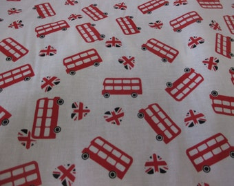 White With Red London Buses British, London Printed 100% Cotton Fabric. Price Per Metre.