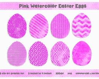Pink Watercolor EASTER EGG Clip Art Digital Graphic Set - Fun Modern Patterns - Instant Download
