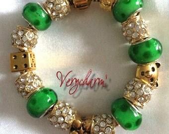 Bangle Bracelet green and gold rhinestones Lampwork