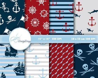 Pirates Digital Papers Scrapbook Paper Pirates, Card Design, Pirates Party Paper, Pirates Background, Instant Download # 470