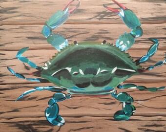 Canvas Acrylic Handpainted Maryland Blue Crab