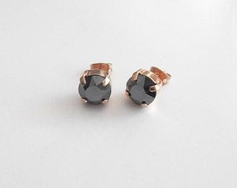 Gunmetal Swarovski Crystal Studs - Rose Gold. Sold Out... Made-to-order.