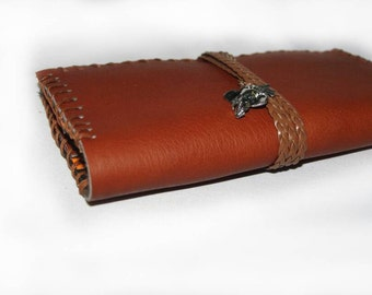 Leather Tobacco Pouch Wallet- Camel, Brown Tan Orange Leather and Hemp. Australian made. Genuine Leather Cow hide. Ooak multiuse purse