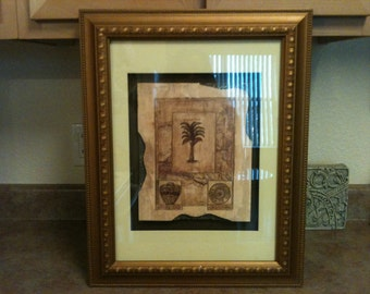 Attractive 3-D Glass/Framed Tropical Tree Picture