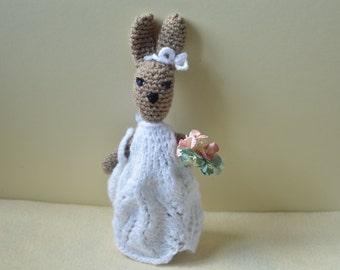 Crochet bunny rabbit, amigurumi doll, soft toy, rabbit in a dress