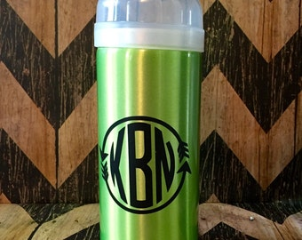 Silver and Green Aluminum Water Bottle