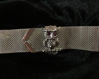 Bracelet, vintage, retro, rare Sarah coventry owl mesh bracelet, FREE SHIPPING