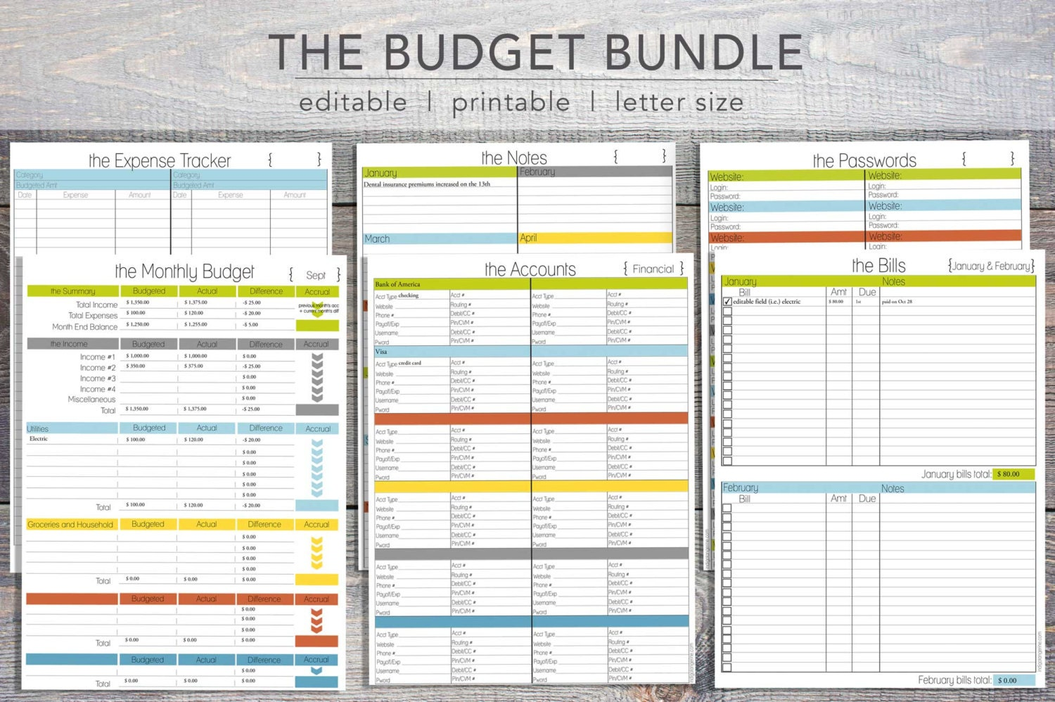 editable budget planning kit finance budget planner set budget