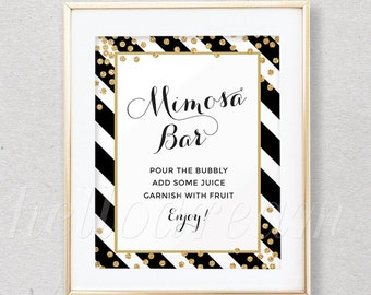 Mimosa Bar Sign, Bubbly Bar Sign,Instruction Sign, Black and White Stripes, Bridal Shower Decor- SKUHDG18