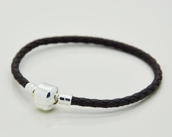 Black Leather Bracelet, European Charm Leather Bracelet, Leather Bracelet.