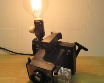 Vintage retro polaroid camera colour swinger. Desk Lamp + Edison bulb upcycled