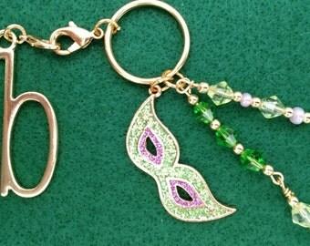 Mardi Gras Mask Key Chain, Purse Charm