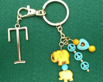 Elephants, Peace, and Love Key Chain, Purse Charm