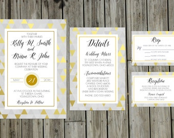Custom Gold and Purple Wedding Invitation Suite